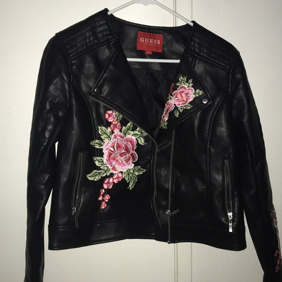 Guess Jackets & Blazers - black Guess leather jacket with embroidered roses